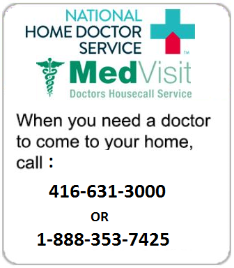 Link to more information on National Home Doctor Service/MedVisit, home doctor visits - 416-631-3000 or 1-888-353-7425